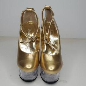 GASOLINE GLAMOUR Shoes - GASOLINE GOLD ANKLE STRAP SHOES